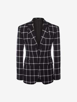 Alexander McQueen Windowpane Check Tailored Jacket