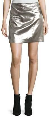 Halston Faux-Wrap Draped Metallic Miniskirt