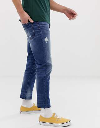 Benetton cropped jeans in mid wash blue