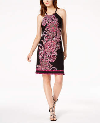 INC International Concepts I.n.c. Petite Printed Hardware-Neck Halter Dress, Created for Macy's