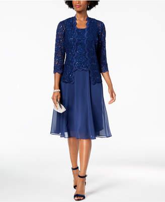 Alex Evenings Midi Dress & Sequined Lace Jacket, Regular & Petite