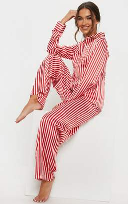 PrettyLittleThing Red & White Stripe Wide Leg PJ Set