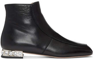 Miu Miu Black Nappa Crystal Boots