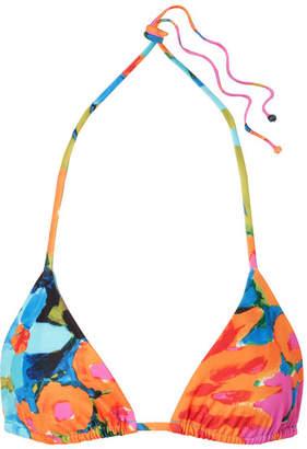 Mara Hoffman Rae Floral-print Triangle Bikini Top - Blue
