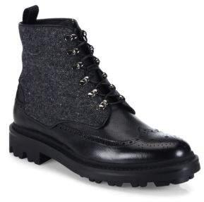 Giorgio Armani Mixed-Media Wingtip Leather Boots
