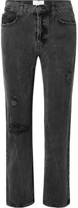 Current/Elliott The Original Straight Distressed High-rise Jeans - Black