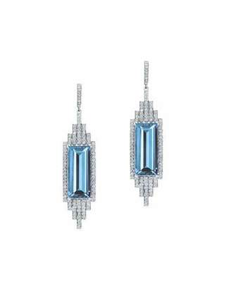 Ivanka Trump Empire Elongated Swiss Blue Topaz Drop Earrings with Diamonds in 18K White Gold $4,400 thestylecure.com
