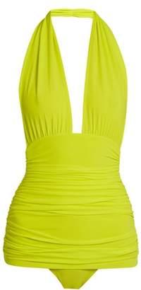 Norma Kamali Bill Halter Swimsuit - Womens - Yellow