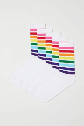 H&M 5-pack Socks - White/striped - Men