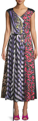 Marc Jacobs Sleeveless V-Neck Photographic Mixed-Print A-Line Dress