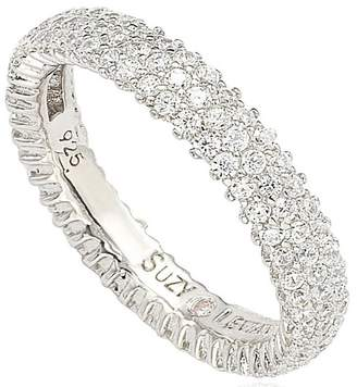 Micropave Suzy Levian Jewelry Sterling Silver Micro-Pave White CZ Eternity Band Ring