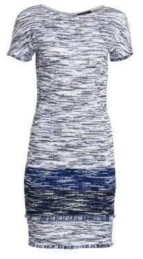 St. John Fringe Multicolor Tweed Bateau Neck Dress