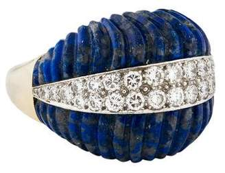 David Webb Lapis Lazuli & Diamond Fluted Ring
