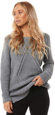 O'Neill New Women's Womens Chrysalis Long Line Knit Crew Acrylic Grey