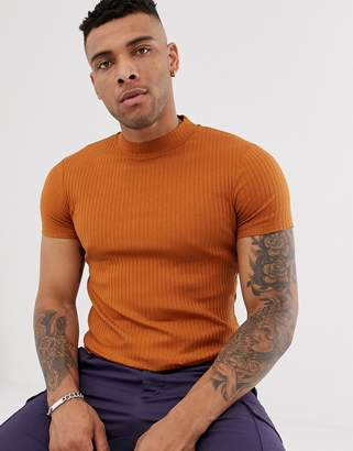 Asos Design DESIGN muscle fit with stretch t-shirt with turtle neck in rib in brown