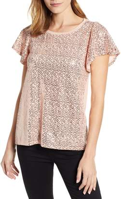 Gibson x Glam Squad Sequin Flutter Sleeve Top