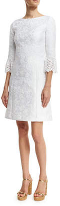 Michael Kors Lace-Cuff Jacquard Shift Dress, White $1,995 thestylecure.com