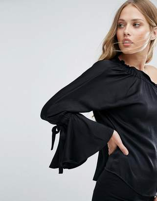 Warehouse Long Sleeve One Shoulder Top