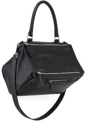 Givenchy Pandora Medium Debossed Leather Satchel Bag, Black $2,450 thestylecure.com