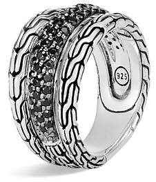 John Hardy Sterling Silver Classic Chain Black Sapphire & Black Spinel Ring