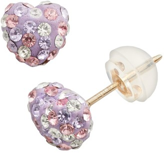Junior Jewels Crystal 10k Gold Heart Stud Earrings - Kids