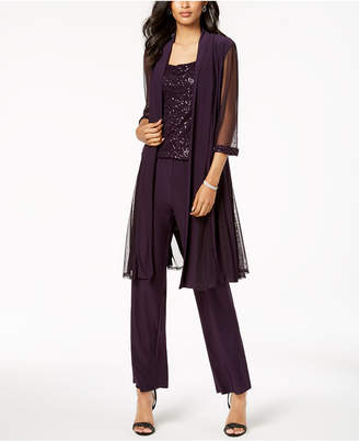 R & M Richards Sequin-Embellished 3-Pc. Pantsuit
