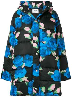 MSGM floral print puffer jacket