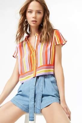 Forever 21 Cropped Striped Shirt