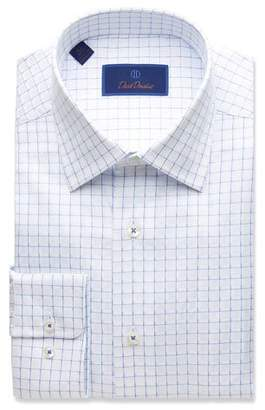 David Donahue Men's Regular-Fit Twill Box-Check Dress Shirt