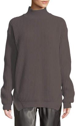 Rick Owens Turtleneck Long-Sleeve Fisherman Pullover Wool Sweater
