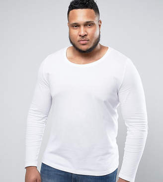 Asos DESIGN PLUS Long Sleeve T-Shirt With Scoop Neck In White