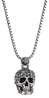 Alexander McQueen Women's Crystal Skull Silvertone Pendant Necklace