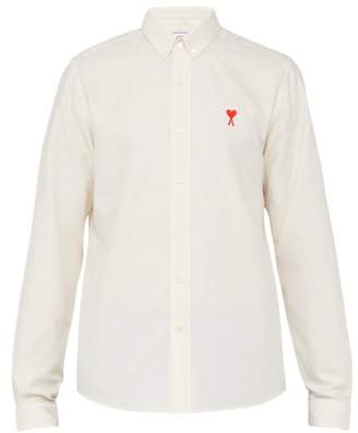 Ami Logo Embroidered Striped Cotton Shirt - Mens - Light Yellow