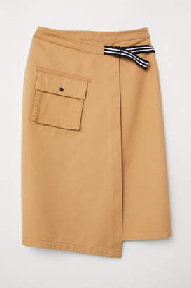 H&M Knee-length Wrapover Skirt - Beige