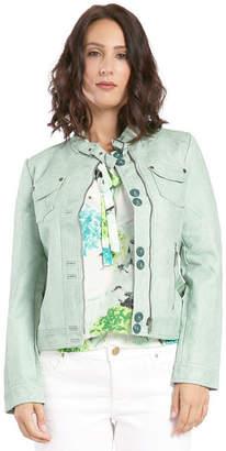 Moto MISS HALLADAY Green Vegan Leather Jacket Belted Mandarin Collar