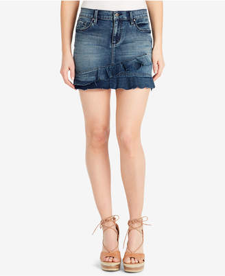 Jessica Simpson Juniors' Kiss Me Ruffled Denim Mini Skirt