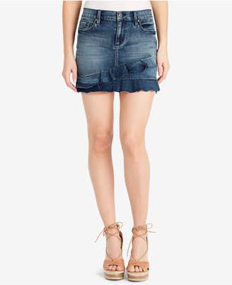 Jessica Simpson Juniors' Kiss Me Ruffled Denim Mini Skirt