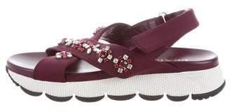 Prada Crystal Embellished Platform Sandals