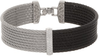 Alor Cable Stainless Steel & Diamond Two-Tone Bangle