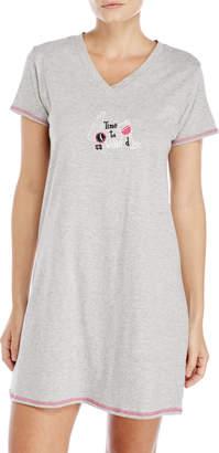 Rene Rofe V-Neck Embroidered Sleep Shirt