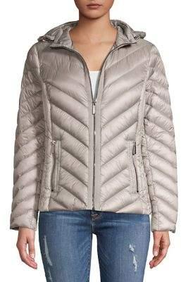 MICHAEL Michael Kors Hooded Chevron-Quilt Zip Coat
