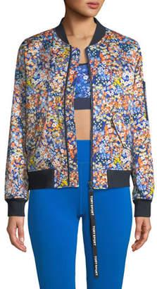 Tory Sport Satin Floral-Print Bomber Jacket