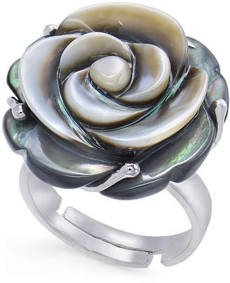 Macy's Tahitian Mother-of-Pearl Carved Rose Ring in Sterling Silver