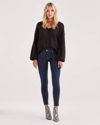 7 For All Mankind B(air) Denim Ankle Skinny in Coated Washed Indigo