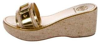 Tory Burch Woven Embellished Wedges