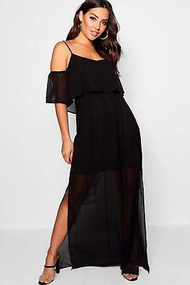 boohoo NEW Womens Chiffon Cold Shoulder Maxi Dress in Polyester