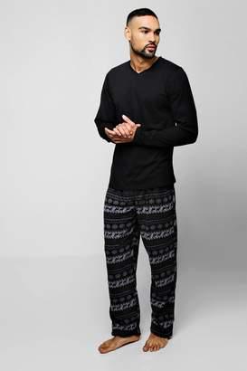 boohoo Long Sleeve Top & Fairsle Pattern Pants Pyjama Set