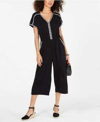 Style&Co. Style & Co Petite Embroidered Cropped Jumpsuit
