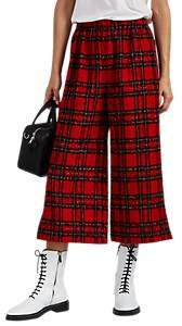 Comme des Garcons Women's Plaid Wool Crop Pants - Red