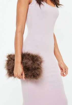 Missguided Brown Fluffy Feather Clutch Bag